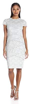 London Times Women's Short Sleeve Round Neck Lace Sheath Dress