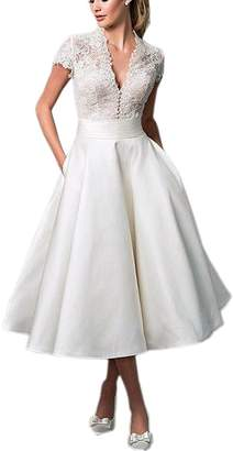 DressyMe Women's Vintage Wedding Dresses Tea-Length V-Neck Lace Sleeves