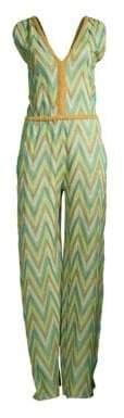 M Missoni Women's Lurex Metallic Jumpsuit - Green - Size Small