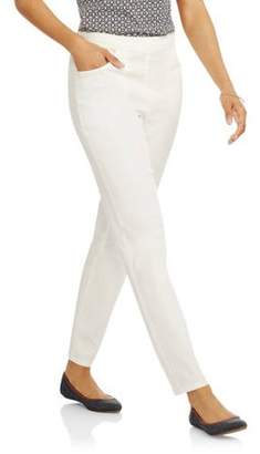 White Stag Women's Flat Front Back Elastic Stretch Denim Pants