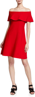 Valentino Off-the-Shoulder Ruffle A-Line Dress, Red