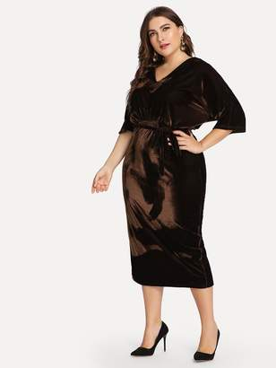 Shein Plus Self Belted Pencil Dress