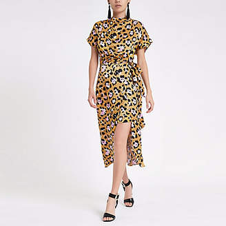 River Island Yellow leopard print tie waist midi dress