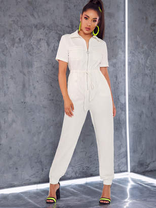 Shein O-ring Zip Flap Pocket Patched Drawstring Waist Jumpsuit