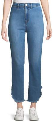 J Brand Stovepipe High-Rise Straight-Leg Jeans w/ Raw Hem