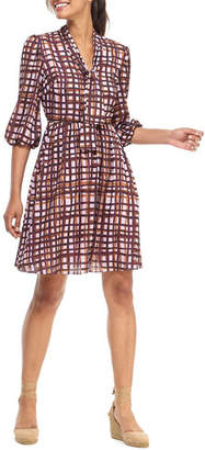Gal Meets Glam Brushstroke Plaid Fit-&-Flare Dress with Neck Tie