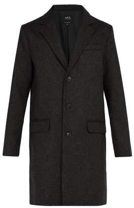 A.P.C. Majordome Wool Blend Overcoat - Mens - Grey