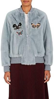 Valentino Women's Embellished Mink Fur Bomber Jacket - Lt. Blue