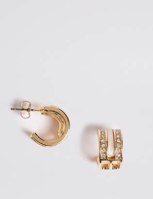 M&S Collection Gold Plated Cutwork Hoop Earrings
