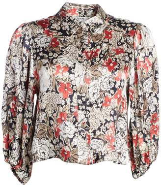 Ganni Heavy Satin Floral Blouse