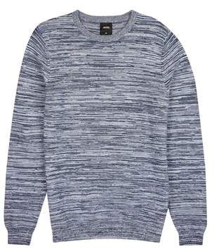 Mens Navy Space Dye Crew Neck Knitted Polo Shirt