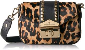 Juicy Couture Leopard Crossbody Bag with Gold Studs, Pitch Black