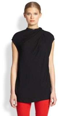 Helmut Lang More Leather-Trimmed Draped Top