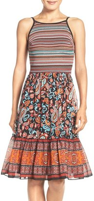 Women's Eci Mixed Media Fit & Flare Dress $98 thestylecure.com