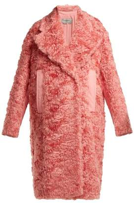 Sportmax Sella Mohair Blend Shearling Effect Coat - Womens - Pink