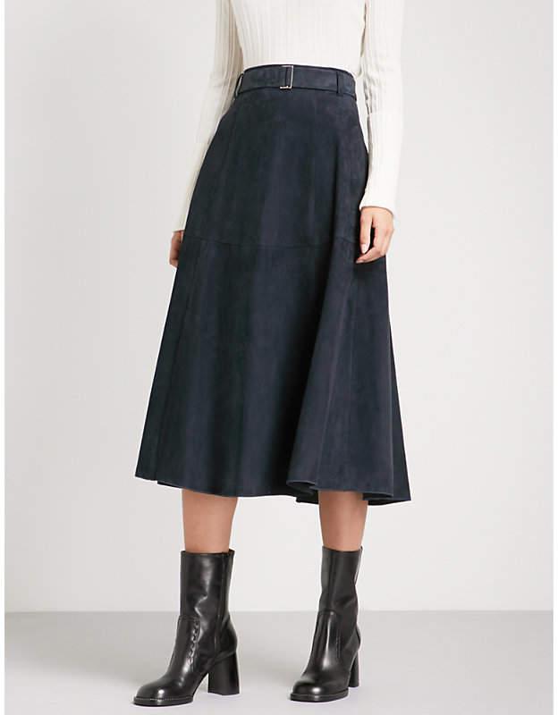 S Max Mara Genero mid-rise suede skirt