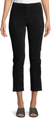 Vince Stretch-Suede Split Hem Crop Pants