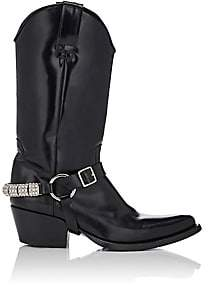 Calvin Klein Women's Embellished-Strap Leather Cowboy Boots-Black