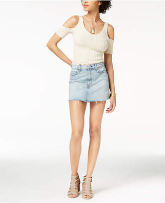 Hudson Frayed Cotton Denim Skirt