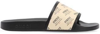 Gucci Pursuit Logo Print Rubber Slide Sandals