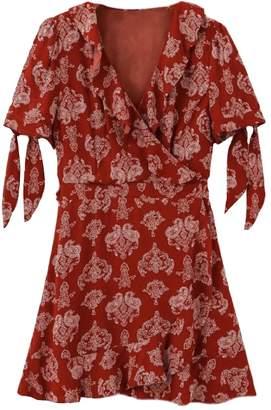 Goodnight Macaroon 'Kinzie' Bohemian Print Ruffled Mini Wrap Dress
