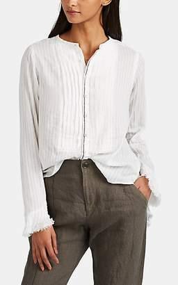 Pas De Calais Women's Pinstriped Cotton Blouse - White