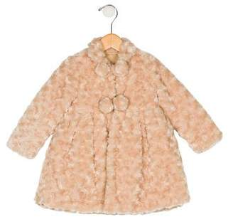 Isabel Garreton Girls' Faux Fur A-Line Coat