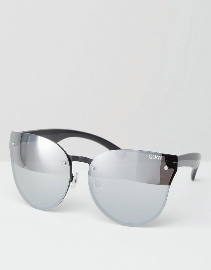 Quay Australia Higher Love Frameless Silver Mirror Cat Eye Sunglasses