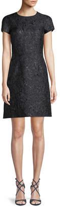 Michael Kors Jewel-Neck Cap-Sleeve Metallic Damask Brocade A-Line Mini Dress