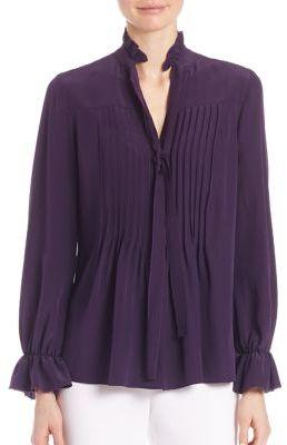 Elie Tahari Everette Silk Pleated Blouse $298 thestylecure.com