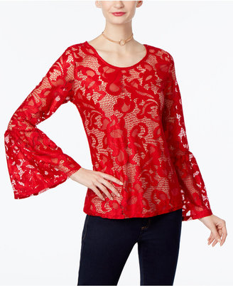 INC International Concepts Lace Bell-Sleeve Top, Only at Macy's $69.50 thestylecure.com
