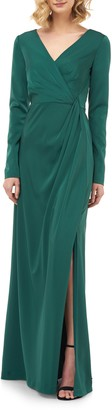 Kay Unger Adelina Long Sleeve Evening Gown