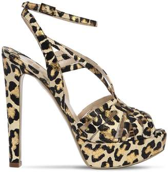 Ernesto Esposito 120mm Leopard Metallic Leather Sandals