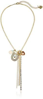 """Betsey Johnson Throwback Betsey"""" Mixed Multi-Charm Y-Shaped Necklace"""