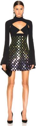 David Koma Circle Embellished Triangle Bra Dress in Gradient & Black | FWRD