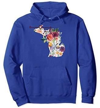 Michigan Floral Watercolor Distressed Hoodie Sweatshirt