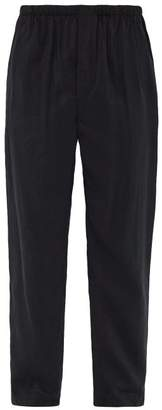 Lemaire Washed Silk Blend Trousers - Mens - Navy