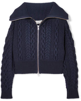 Self-Portrait Cable-knit Cotton And Wool-blend Cardigan - Navy