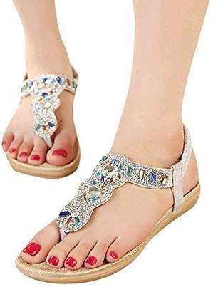 c87aad240 Life Palaza Bohemian Style Women s Bling Crystal Rhinestone Slingback Silver  Flip Flops Flat Sandals Ankle Strap