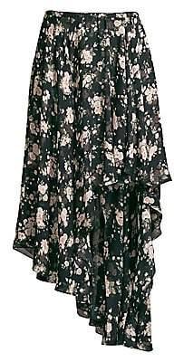 Michael Kors Women's Asymmetric Floral Silk Chiffon Midi Skirt