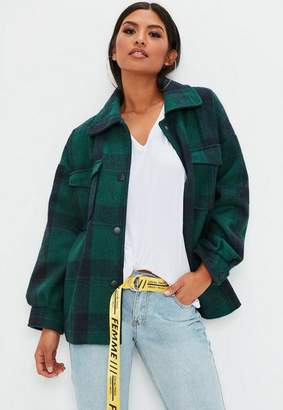 Missguided Green Oversized Check Wool Jacket, Green