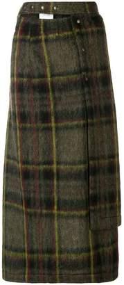 Marios asymmetric tartan skirt