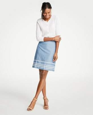 Ann Taylor Tall Wavy Trim Chambray Skirt