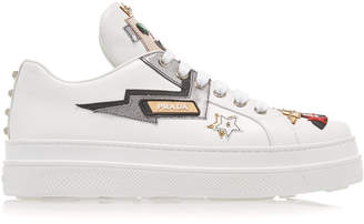 Prada Appliquéd Leather Platform Sneakers