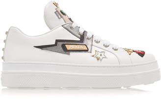 Prada Appliquéd Leather Platform Sneakers