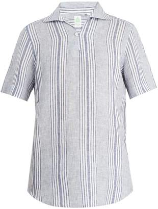Finamore Palma striped spread-collar linen shirt