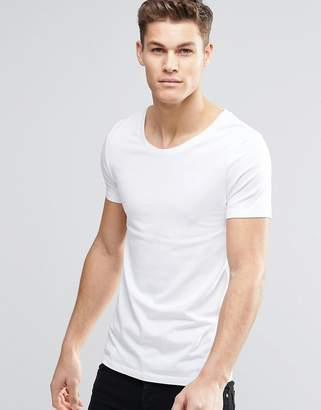 Asos Muscle Fit T-Shirt With Scoop Neck And Stretch In White