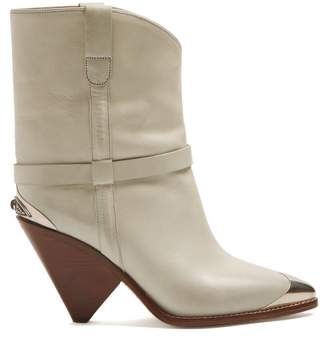 Isabel Marant Lamsy Leather Boots - Womens - White