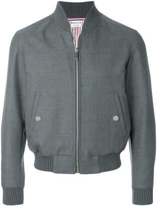 Thom Browne Center-back Engineered Stripe Wool Twill Blouson Jacket