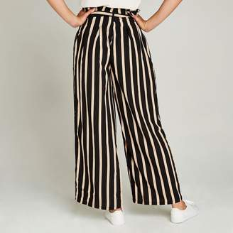 Apricot Black Striped Belted Trousers